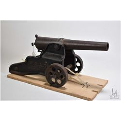 "Antique Winchester cast 10 gauge Signal cannon on cast base marked "" W.R.A.Co. trade mark registered"