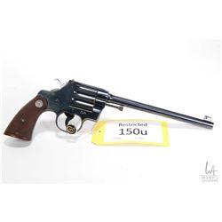 Restricted handgun Colt model Camp Perry (1929), .22 LR single shot single action, w/ bbl length 254