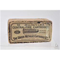 Vintage unopened 50 count box of Colt .38 cal L.M.R. cartridges by The Union Metallic Cartridge Co.