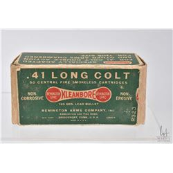 Vintage box of Kleanbore Remington .41 Long Colt cartridges, appears to be full 50 count box with al