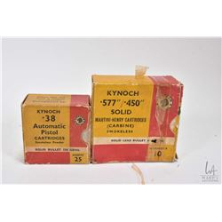 """Two boxes of vintage Knoch .577/ .450"""" solid Martini-Henry cartridges, appears full 10 count box wit"""