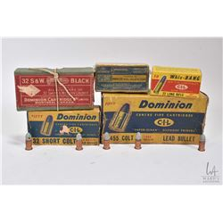 Selection of vintage ammunition including sealed 50 count box of .22 automatic by C.I.L for Winchest