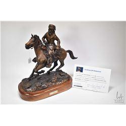 "G.C. Wentworth ""Mountain Man"" cast bronze sculpture on walnut hardwood base with brass plaque, numbe"