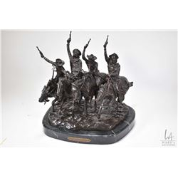 """Fredric Remington cast on marble base """"Coming Through the Rye"""" on marble base, 13"""" X 12"""" X 9 1/2"""""""