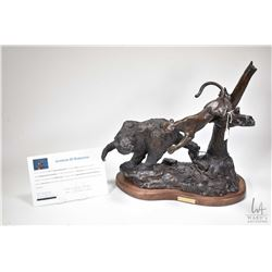 """G.C. Wentworth """"Trapped and Tormented"""" cast bronze sculpture on wooden base, with COA, 16"""" X 15 1/2"""""""