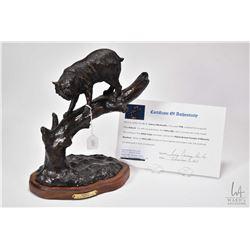 "G.C. Wentworth Bobcat cast bronze sculpture on wooden base with COA, 11"" X 8"" X 5 1/2"""