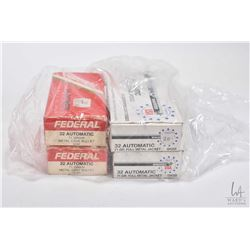 Four full 50 count boxes of .32 auto including two Winchester 71 grain, full metal jacket and two bo