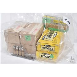 Selection of handgun ammunition including four 40 count boxes of unmarked 7.62, two full 50 count bo