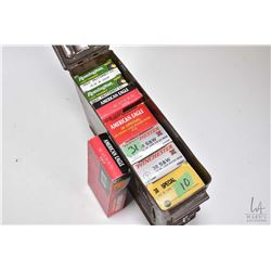 Metal ammunition box and contents including two full 50 count boxes of Remington 380 auto 95 grain,