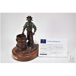 """G.C. Wentworth """"Rodeo Clown"""" cast cold painted bronze on wooden base with COA, 12"""" X 9"""" X 7"""""""