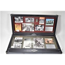 """Two shadow boxed framed Harley Davidson collages including """"Santa Fe, Harley Davidson"""" and """"Red Rock"""