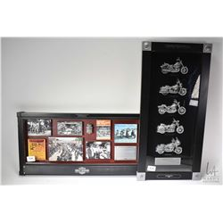 """Harley Davidson shadow boxed collage """"Lethbridge, Harley Davidson"""" and a Harley Davidson motorcycles"""
