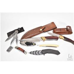 Six assorted knives including folding and hunting plus a vintage straight razor and a small multi to