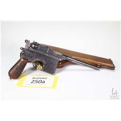 Restricted handgun Mauser model C96 Broomhandle, 7.63mm Mauser ten shot semi automatic, w/ bbl lengt