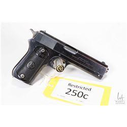 Restricted handgun Colt model 1903 Pocket, 38 Auto seven shot semi automatic, w/ bbl length 114mm [B