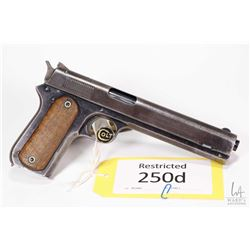 Restricted handgun Colt model 1900 (Dated 1902), 38 Auto seven shot semi automatic, w/ bbl length 15