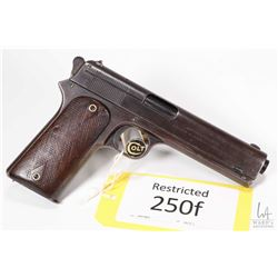 Restricted handgun Colt model 1905 (Dated 1908), 45 Auto seven shot semi automatic, w/ bbl length 12