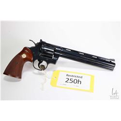 Restricted handgun Colt model Python Target 38 (Dated 1, .38 SPL six shot double action revolver, w/