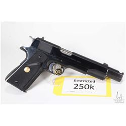 Restricted handgun Colt model Combat Government MARK IV, .45 Auto eight shot semi automatic