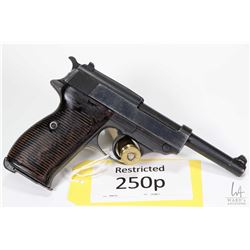 Restricted handgun Walther model P38 (AC), 9mm Luger eight shot semi automatic, w/ bbl length 127mm