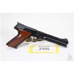 Restricted handgun Colt model Woodsman Match Target (Da, 22LR ten shot semi automatic, w/ bbl length