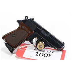 Prohib 12-6 handgun Walther model PPK, 7.65mm seven shot semi automatic, w/ bbl length 83mm [Blued f