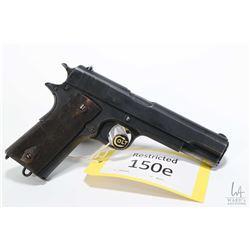 Restricted handgun Colt model 1914 Norwegian, 11.25 mm seven shot semi automatic, w/ bbl length 127m