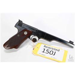 Restricted handgun Colt model Woodsman Match Target, . 22 LR ten shot semi automatic, w/ bbl length