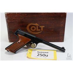 Restricted handgun Colt model Targetsman, .22LR ten shot semi automatic, w/ bbl length 152mm [Blued