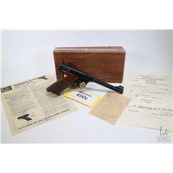 Restricted handgun Colt model Huntsman, .22 LR ten shot semi automatic, w/ bbl length 152mm [Blued b
