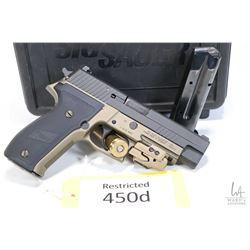 Restricted handgun Sig Sauer model P226R Combat, 9mm Luger ten shot semi automatic, w/ bbl length 11