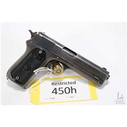 Restricted handgun Colt model 1903 Pocket, .38 Auto seven shot semi automatic, w/ bbl length 114mm [