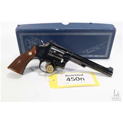 Restricted handgun Smith & Wesson model 17-2, .22 LR six shot double action revolver, w/ bbl length