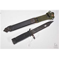 Colt branded bayonet marked EXP. Sam. #03 with scabbard