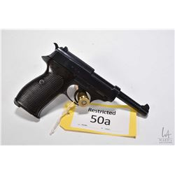 Restricted handgun Walther model P38 (cyq), 9mm luger eigh shot semi automatic, w/ bbl length 125mm