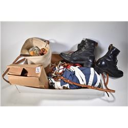 Selection of horse riding equipment including bridles, horse blanket, combs, brushes, hoof condition