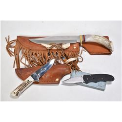 "Three collectible knives including a large stag handled knife with 8"" blade labeled BF 2522 with lea"