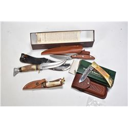 Selection of knives including Rich a. Herder Soligen Germany stag style handled knife and sheath, a