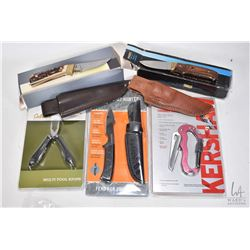 Selection of knives including Schrade Uncle Henry with leather sheath, a Shrade PH2 with sheath in b