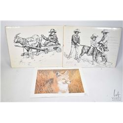 Two Gary Ericsson etched cowboy themed prints, an unframed limited edition print of a Swift fox by I