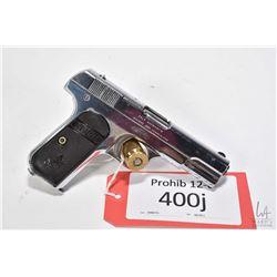 Prohib 12-6 handgun Colt model 1908 Hammerless, .380 Auto seven shot semi automatic, w/ bbl length 9