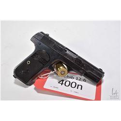 Prohib 12-6 handgun Colt model 1903 Hammerless, .32 Rimless semi automatic, w/ bbl length 95mm [Blue