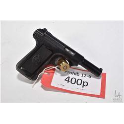Prohib 12-6 handgun Savage model 1907, 7.65mm ten shot semi automatic, w/ bbl length 95mm [Blued fin