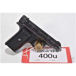 Prohib 12-6 handgun Sauer & Sohn model 1913, 7.65mm seven shot semi automatic, w/ bbl length 76mm [B