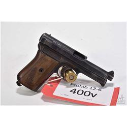 Prohib 12-6 handgun Mauser model 1910, 7.65mm eight shot semi automatic, w/ bbl length 87mm [Blued f