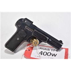 Prohib 12-6 handgun FN-Browning model 1900, 7.65mm seven shot semi automatic, w/ bbl length 102mm [B