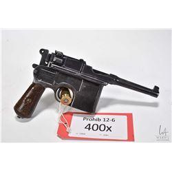Prohib 12-6 handgun Mauser model C96 Broomhandle Bolo, 7.63mm Mauser ten shot semi automatic, w/ bbl