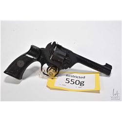 Restricted handgun Enfield model No 2 MK1, .38 S&W six hinge break revolver, w/ bbl length 127mm [Ba