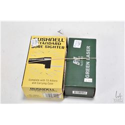 Bushnell standard bore sighter and carrying case, new in box and a NcStar Green laser, new in box