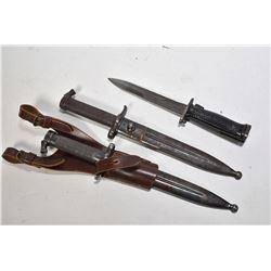 Three bayonets including JND US M5-1 Garand bayonet and two Swedish M-96 bayonets.